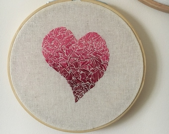 Ombre heart embroidery hoop