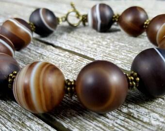 Botswana agate bracelet, Agate beaded bracelet, Big beads bracelets, Bohemian gemstone bracelet, Yoga power bracelet, Mala bead bracelet