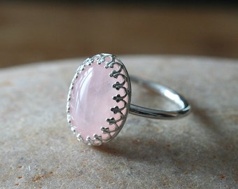 Rose Quartz Ring Stacking Ring in Sterling Silver 14x10 mm, Gallery Princess Crown Bezel Ring, Size 2 to 15, Womens Pink Ring Solitaire