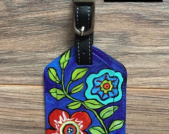 Personalized Luggage Tag, Boho Luggage Tag , Floral luggage tag, hand painted leather bag tag, bag tag Hand Painted Leather Luggage Tag