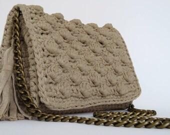 Bubble stitch handbag| sand crochet bag| boho crochet bag| cotton yarn bag| summer top fashion handbags| everyday summer bag|festival bag