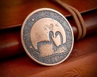 """Swan brooch, swan jewellery, """"Swans by Moonlight"""", moon Brooch, moon jewellery, bird jewellery, bird brooch, copper brooch, copper jewelry"""