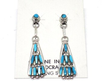 Handmade Native American, Zuni Needlepoint Sterling Silver, Sleeping Beauty Turquoise Earrings