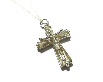 STERLING Silver CRYSTAL Crucifix Cross, Sterling Vintage Crucifix, Crucifix with Sterling Chain, Catholic Cross, Silver Cross Necklace