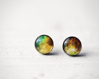 Green galaxy earring, Space earring studs, Small gift for her, Mens earrings, Gift for men earrings, Space jewelry, Universe