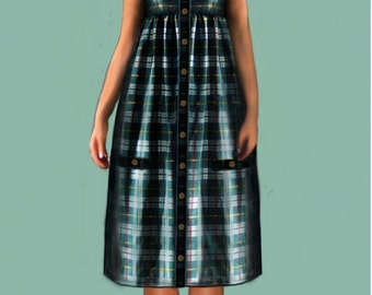 Country dress, 4 patterns in 4 different sizes