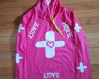 "LOVE MORE BMORE-""Love More"" long sleeve shirt w/ hood (pink)"