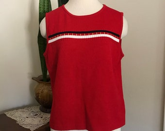 Vintage St. John Knit  St John Marie Grey Red Tank Top With Red , White and Blue Trim, Nautical tank top