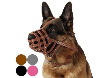 German Shepherd Secure Genuine Leather Basket Dog Muzzle Large