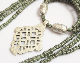 Ethiopian Cross Necklace, African Jewelry, Indnesian Bead Necklace, Ethnic Jewelry
