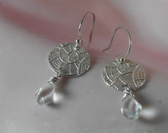 Fine Silver Nautilus Spiral Earrings with Twisted Quartz Crystal Briolettes