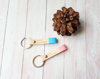 Personalized Couples Keychain - Custom Leather Keychain - Couple Gift - Best Friend Gift for her - Girlfriend Gift - Anniversary Gift (2pcs)