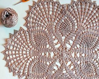 "Вrown crochet doily Round 40 cm / 16"". Crocheted Doily."