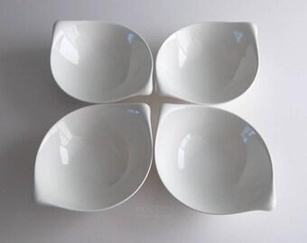 Set Of 4 Vintage Eva Zeisel Century Hallcraft Modern Hi White Bowls