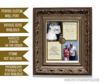50th Wedding Anniversary Gift Then and Now Photos - Couple Gift Golden Anniversary Print - 50th Wedding Anniversary - Personalised Print