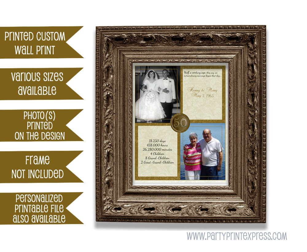 Gift For 50th Wedding Anniversary Traditional: 50th Wedding Anniversary Gift Then And Now Photos Couple