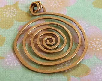 Gold Spiral Pendant for Necklace Labyrinth Pendant Hammered 14k Gold Circle Pendant Swirl Pendant Wire Jewelry
