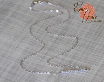READY TO SHIP - Rainbow Moonstone Gemstone Bar Necklace, Sterling Silver, June Birthstone Necklace