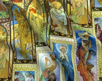 Mucha Fabric - Mucha's Night And Day By Bonnie Phantasm - Mucha Art Nouveau Goddess Panels Retro Cotton Fabric By The Yard With Spoonflower