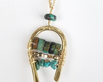 Hammered brass Turquoise necklace