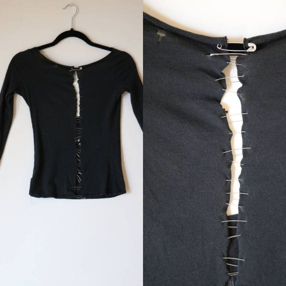 Salvaged Safety Pin Top | xs/s scoop back black cotton worn ripped punk fashion rock goth macabre vintage shirt tshirt extra small 80s 90s