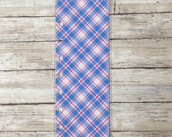 Blue & Pink Plaid Mini Happy Planner Bookmark