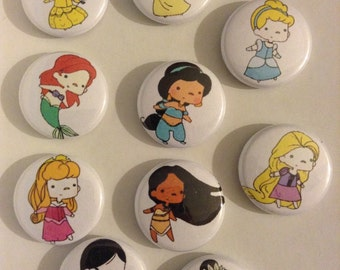"""1"""" Disney Princess Pinback Buttons. This is a Set Of (10)"""
