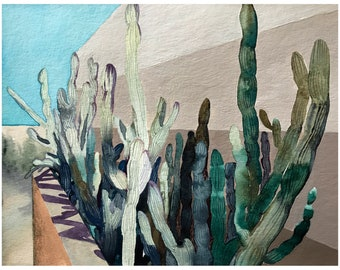 Cactaceae - Original Painting, FRAMED - Mexican cacti