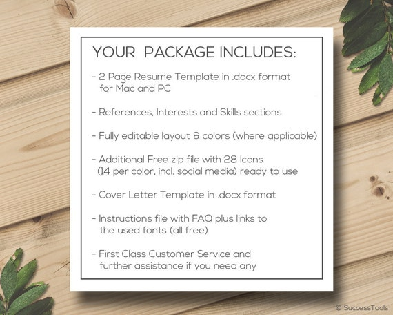 resume and cover letter template resume instant download