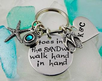 KeyChain - We Walk Hand in Hand Toes In the Sand Bracelet or Necklace Custom - Beach Honeymoon Vacation - Men Groom Bride Fiance Gift