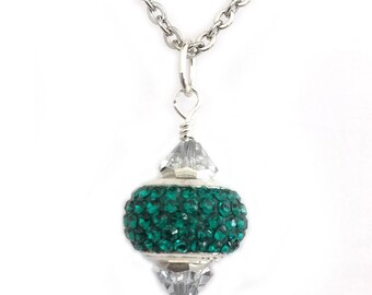Emerald Green Crystal Pendant Necklace for Women, Teen Girls