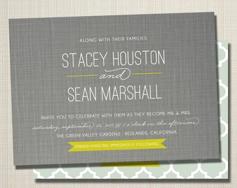 custom modern wedding invitation - linen love.