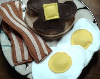 Pretend Play Food Felt Food Breakfast of Pancakes, bacon and eggs