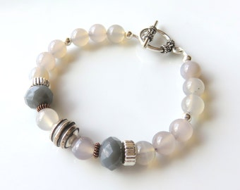 Grey Gemstone Bracelet, Agate and Sterling Silver, Neutral Tone Jewelry, Agate Fashion Bracelet, Toggle Clasp, Unique One of a Kind Gift