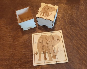 Wood Animal Puzzle in a Wood Animal Box!