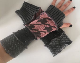 Upcycled fingerless gloves, texting gloves, driving gloves, typing gloves, wrist warmers, arm warmers, thumbhole gloves