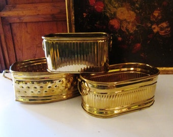 Trio of Brass Planters,Hollywood Regency Cachepots, Brass Catchall, Home Office Decor, Planter, Chinoiserie Cache Pot