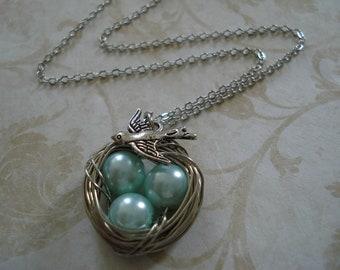 Aqua Blue Pearl Bird's Nest Necklace