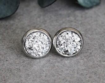 Silver Stud Earrings, Silver Earrings, Silver Druzy Earrings, Silver Bridesmaid Earrings, Small Silver Earrings, Faux Druzy Earrings