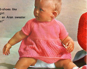 vintage baby 4ply dress booties knitting pattern pdf baby girls dress sock shoes 6-12 months 4 ply sports pdf instant download