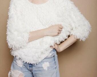 Vintage 1980s White Shaggy Fuzzy Avant Garde Knit Sweater