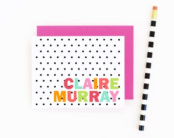 Personalized Stationary Black and White Thank You Notes Polka Dot Custom Kids Stationery Colorful Note Cards Bridesmaid Gift Hostess Gifts