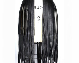 LEATHER FRINGE BELT, long black leather fringe belt, fringe skirt, fringe cuir.