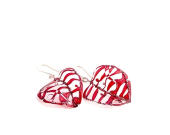 Scarlet Leaves Silver Earrings. Elegant Earrings. Vermilion Red Earrings. Red Jewelry. Unique Jewelry. Wire Wrapped Jewelry. Lightweight