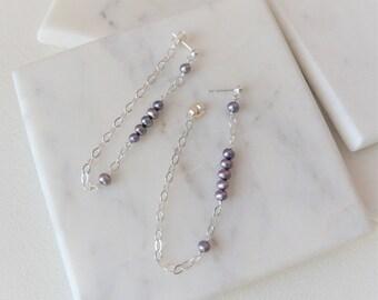Pearl And Chain Loop Earrings