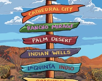 Palm Springs, California - Destinations Sign - Lantern Press Artwork (Art Print - Multiple Sizes Available)