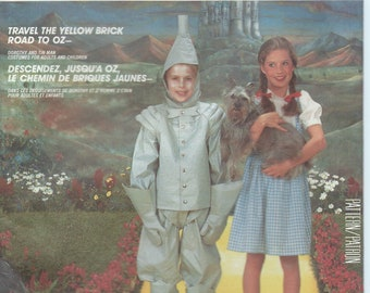 UNCUT Men and Women's Costume Sewing Pattern McCall's 2202 Halloween Costume, Wizard of Oz, Dorothy, Tin Man, Couples Couple