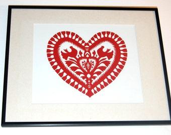 Original Papercut Wycinanki Polish Folk Art Collage heart