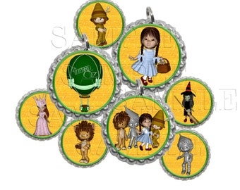 Wizard Of Oz II  Bottle Cap Images, Clip Art,1 Inch Circles, Cupcake Toppers, Stickers,Buttons, Digital Download, DIY Printable