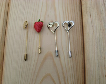 Lot of 4 Pieces Assorted Lapel Pins, Stick Pins, Hat Pins